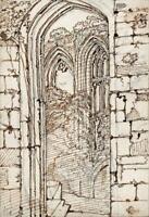 HANNAH SARAH TURNER BRIGHTWEN Tiny Pen & Ink Drawing NETLEY ABBEY c1865