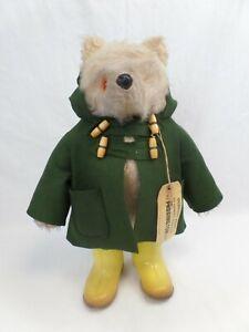Vintage Paddington Bear green jacket yellow wellington boots bear