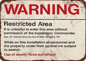 Warning Restricted Military Area 51 Vintage Look Reproduction Metal sign 8 x 12