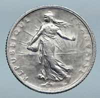 1916 FRANCE Antique Silver 1 Franc French Coin w La Semeuse Sower Woman i85207