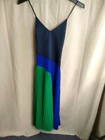 Cushnie - Colorblock V-Neck Spaghetti Strap Midi Dress - Women - 4 - Blue