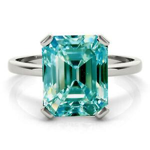 2.25 Ct vs1:Emerald Blue White Moissanite Diamond Engagement .925 Silver Ring