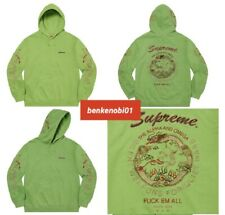 Supreme SMALL Dragon Overdyed Hooded Sweatshirt Hoodie Lime Green Embroidery