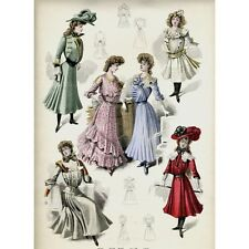 Antique French Fashion Print, 1900