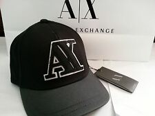 New exclusive Armani Exchange AX Mens Varsity A|X Baseball Hat Cap (BLACK)