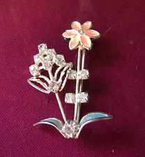 Bright Sparkley Crystal And Enamal Pale Orange Flower Brooch/Pin.