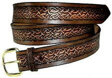 "1 1/2"" Celtic Medieval Renaissance Casual Heavy Duty Work Leather Belt w Buckle"