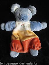 Doudou Marionnette Koala bleu gris orange écru jaune oiseau brodé Noukie's 28 cm