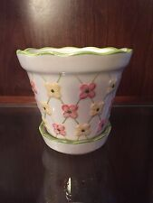 Longaberger Dogwood Ceramic Flower Pot And Liner New Pottery