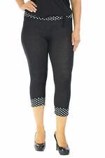 New Womens Plus Size Leggings Ladies Polka Dot Print Tie Band Cropped Nouvelle
