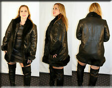 New Banana Republic Leather Jacket Black Fox Fur Trim Size Medium 6 8 M