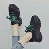 Women Round Toe Sneaker Lace Up Creeper Hidden Wedge Platform Sport Shoe Trainer