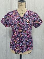 COTTONALITY Paisley Floral Scrub Top Short Sleeve V-Neck Front Snaps X Small