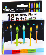 12pk Multi Coloured Flame Cake Candles Happy Birthday Party Essential Gift Idea