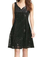 DKNY Women's Dress Shiny Black Size 8 A-Line Sweetheart Neck Sequin $159 #366