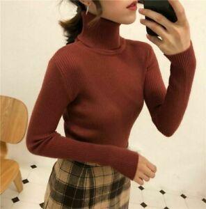 Pull à col roulé mince pour femme tricoté confortable pull à manches...