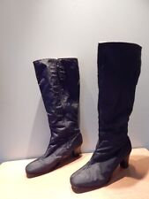 Vintage 1970s Black Warm N Smart Revelations Snow Fleece Tall Boots Mod Heel 8.5