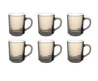 6 x Glass Mugs Smoke Mug Brown Coffee Mugs Tea Cups Latte Hot Drink Glasses