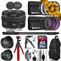 Canon 50mm f/1.4 USM - 3 Lens Kit + Tripod + Backpack - 64GB Holiday Gift Bundle