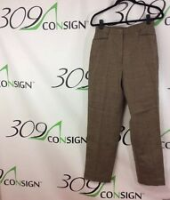 New Jones New York Country Womens 8 Medium Brown Wool Leather Tweed Dress Pants