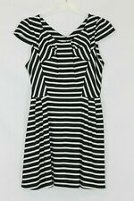 Lipsy Black White Striped Cap Sleeved Bow Detail Fit and Flare Dress size 10 -12