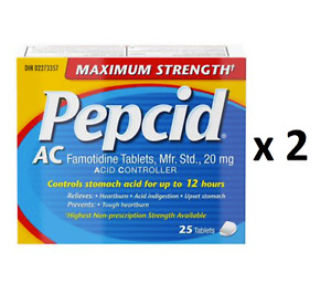 Pepcid Maximum Strength AC Tablets Acid Reducer for Heartburn 25 Count Pack of 2