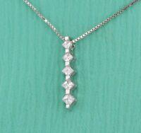 "1/4 Ct Princess Cut Diamond Journey Pendant 14k White Gold GP 18"" Chain Necklace"