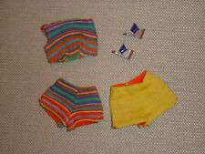 Vintage Barbie - Pak Striped Crop Top, Striped Shorts, Gold Shorts, and Shoes