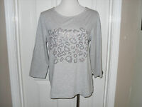 New Chico's Zenergy Faith EMB Animal Tee Top Blouse Gray Size 2=12/14 Large NWT