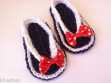 July 4 BABY SANDALS FLIP FLOPS SHOES CROCHET Sz 3-6 Mo Navy Blue & White Red Bow