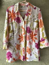 JM Collection 16W Multicolored Floral Linen Blouse Top 3/4 Sleeve Button Front