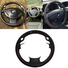Black Leather Wood Steering Wheel Cover 02-08 BMW 3-Spokes E65 E66 7 735 745 760