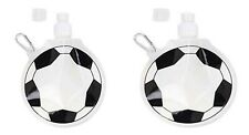 2x collapsible football shaped drinks bottle with clip. reusable