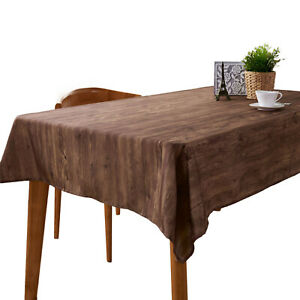 Rustic Wood Grain Tablecloth Table Cloth Cover Party Dinner Kitchen Home Decor