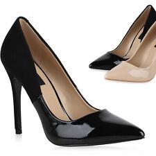 Damen Spitze Pumps Stilettos High Heels Lack Leder-Optik Schuhe 820510 Trendy