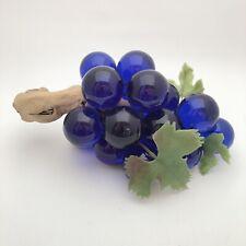 Vintage Large Blue Glass Grape Cluster Mid Century