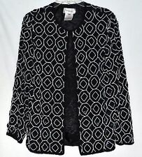 Vintage Papell Boutique Pearls Black Beads with Sequins Silk Evening Jacket Sz S