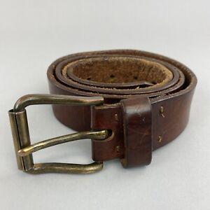 """Retro Unisex Brown Leather Boho Hippie Jeans Trouser Belt Size L 48"""" Long Length"""