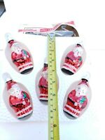 Vintage Christmas hand decorated glass SANTA  CLAUS ornaments set of 5