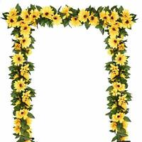 2 Pack Artificial Sunflower Garland Silk Sunflower Vine For Wedding Table Decor