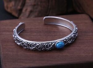 Solid 925 Sterling Silver Mens Heavy Patterned Turquoise Bangle Cuff Bracelet