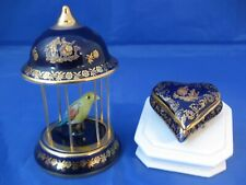 Vintage Cobalt Blue & Gold Limoges Bird In A Cage and Covered Heart Box
