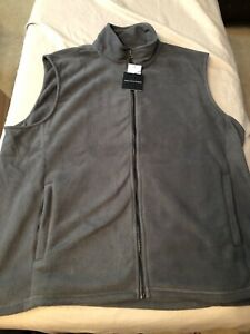 Men's Saks Fifth Avenue Polar Fleece Vest 2XL XXL Microfleece Gray $93.00