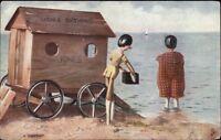 Ladies Bathing House Wooden Toys TUCK Seaside in Dollyland c1910 Postcard