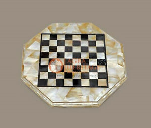 Marble White Handmade Chess Top Table Mosaic Inlaid Stone Art Housewarming Gift