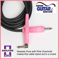 Analysis Plus 12ft GENESIS PURE BLACK / PINK Guitar Cable w/ STR/ANGLE Plugs