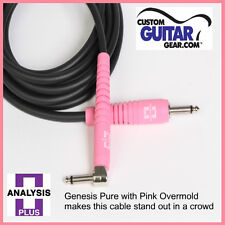 Analysis Plus 20ft Genesis Pure Black / Pink Guitar Cable w/ Str/Angle Plugs
