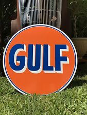"Antique Vintage Old Look Gulf Sign 24""!"