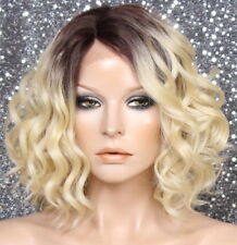 Lace front wig Short Brown rooted blonde mix curly side part 4-613 NWT Heat Safe