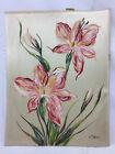 Vintage Flower Art Painting Signed H. Taber Fabric Ornate Detailing